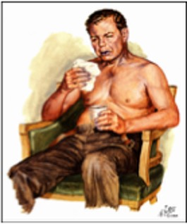 Netter depiction of a man with chronic bronchitis COPD.